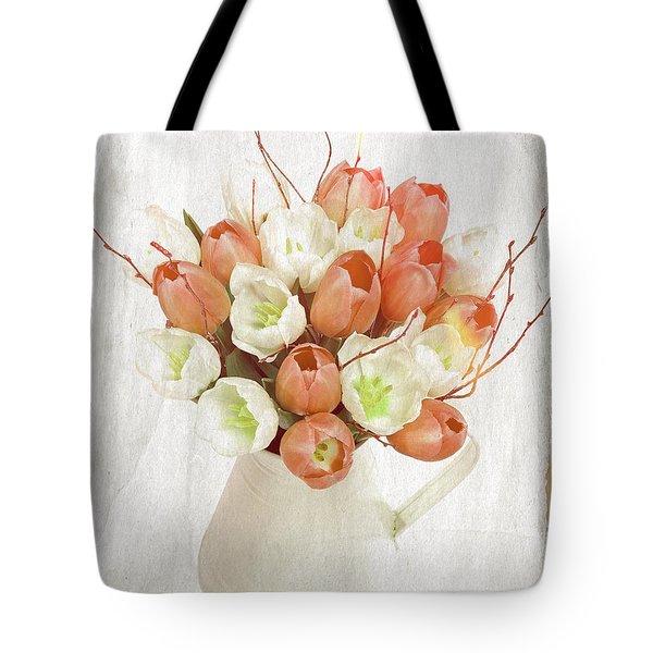 Deluxe Peach Tulips Tote Bag by Debra  Miller