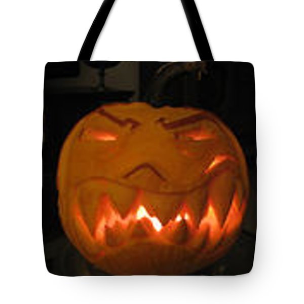 Tote Bag featuring the sculpture Demented Mister Ullman Pumpkin 2 by Shawn Dall