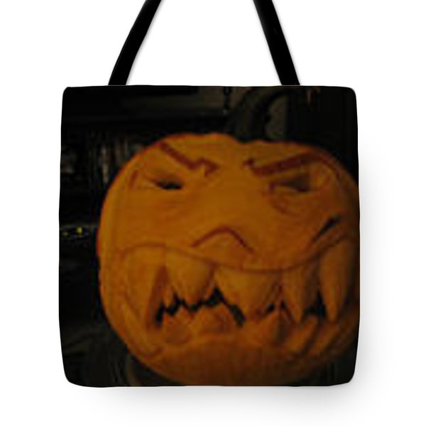 Tote Bag featuring the sculpture Demented Mister Ullman Pumpkin 3 by Shawn Dall