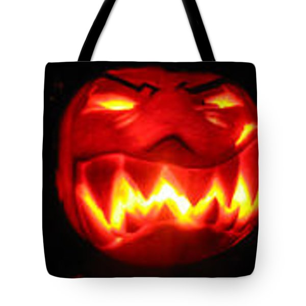 Tote Bag featuring the sculpture Demented Mister Ullman Pumpkin by Shawn Dall