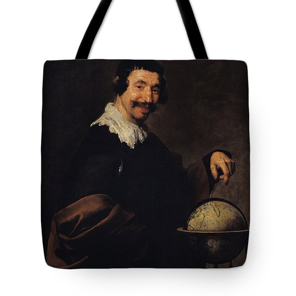 Democritus, Or The Man With A Globe Oil On Canvas Tote Bag