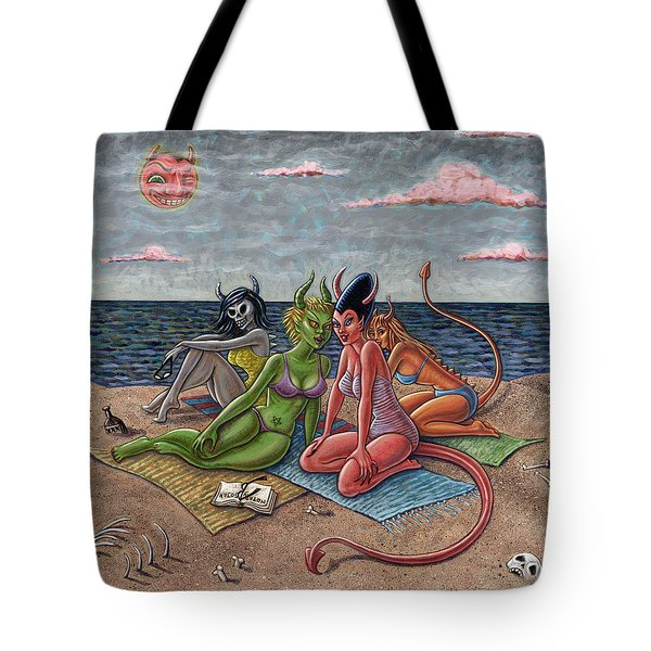 Demon Beaches Tote Bag