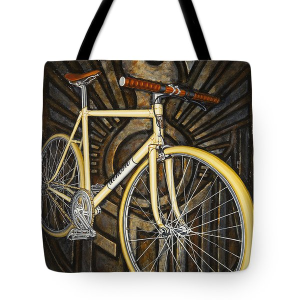 Tote Bag featuring the painting Demon Path Racer Bicycle by Mark Howard Jones