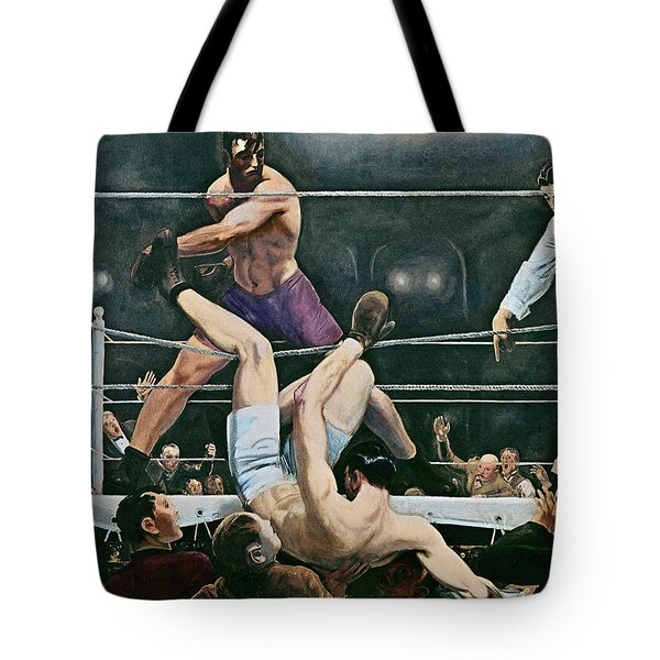 Dempsey V Firpo In New York City Tote Bag by George Wesley Bellows