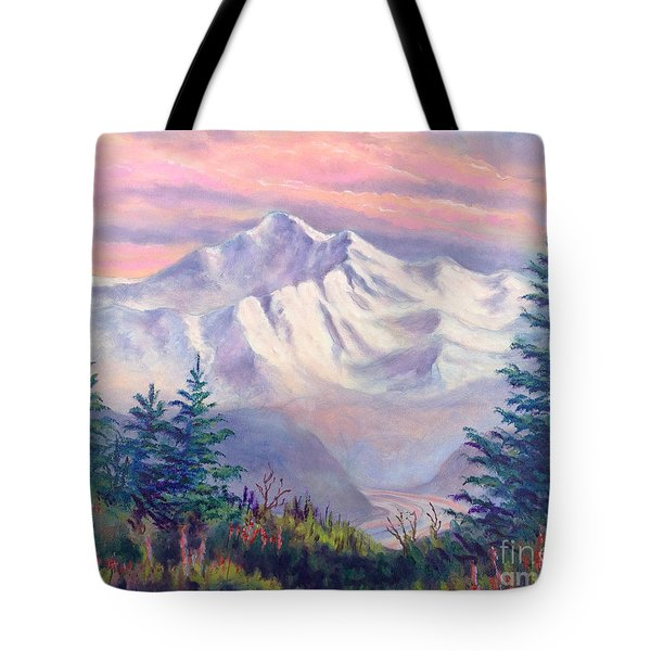 Denali Alpenglow Tote Bag by Teresa Ascone