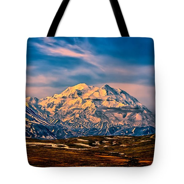Denali At Sunset Tote Bag