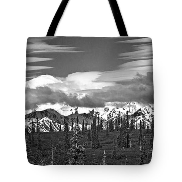 Denali In Clouds Tote Bag