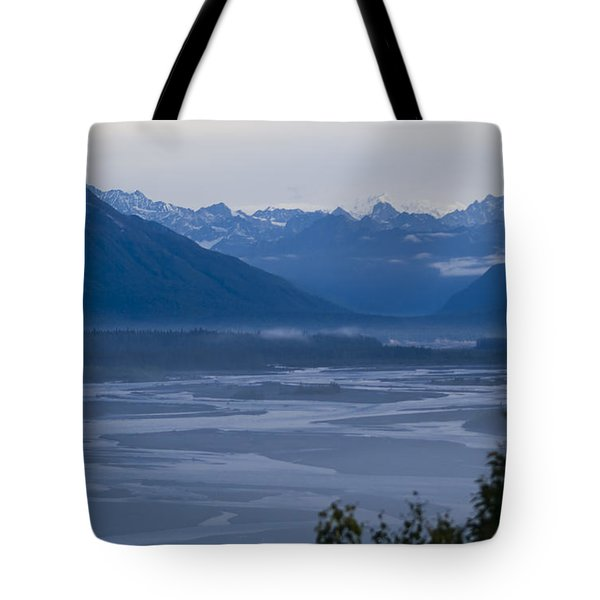 Denali Side Mountain Ranges Tote Bag by Tara Lynn