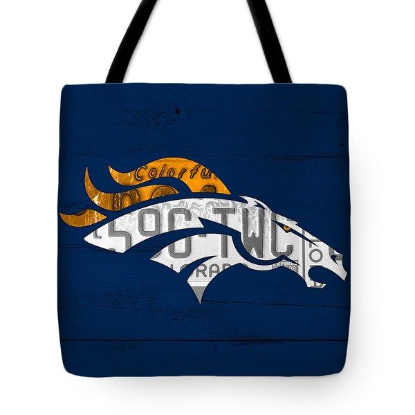 Denver Broncos Football Team Retro Logo Colorado License Plate Art Tote Bag