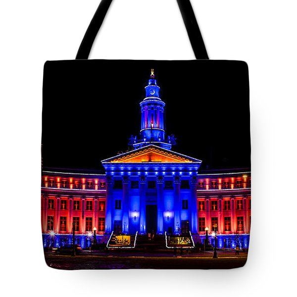 Denver City And Country Building In Bronco Blue And Orange Tote Bag