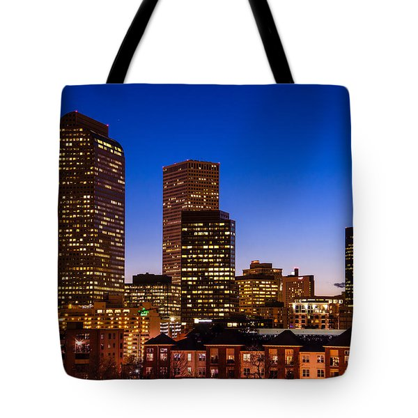 Denver Colorado Skyline At Blue Hour Mar 2013 Tote Bag