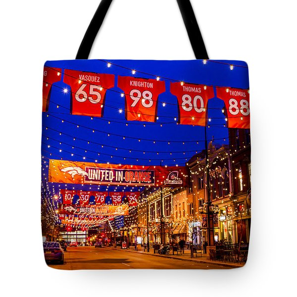 Denver Larimer Square Blue Hour Nfl United In Orange Tote Bag
