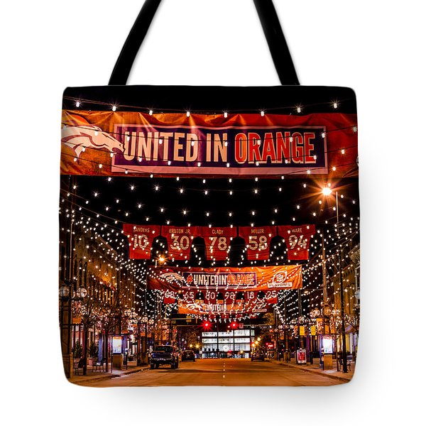 Denver Larimer Square Nfl United In Orange Tote Bag