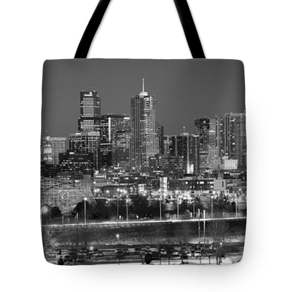 Tote Bag featuring the photograph Denver Skyline At Dusk Black And White Bw Evening Panorama Broncos Colorado  by Jon Holiday
