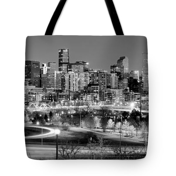 Tote Bag featuring the photograph Denver Skyline At Dusk Evening Bw Black And White Evening Panorama Broncos Colorado  by Jon Holiday