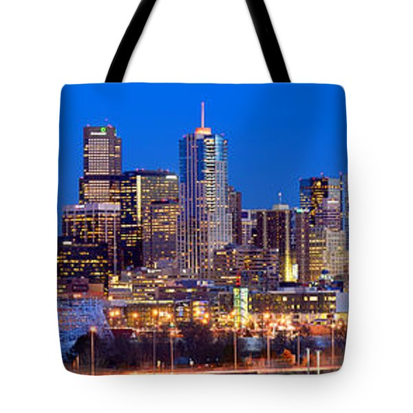 Tote Bag featuring the photograph Denver Skyline At Dusk Evening Color Evening Extra Wide Panorama Broncos by Jon Holiday