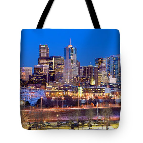 Tote Bag featuring the photograph Denver Skyline At Dusk Evening Color Evening Panorama Broncos Colorado  by Jon Holiday