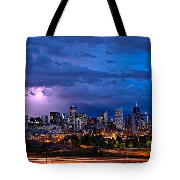 Denver Skyline Tote Bag by John K Sampson