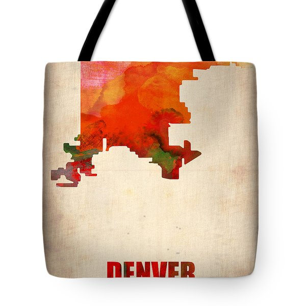 Denver Watercolor Map Tote Bag by Naxart Studio