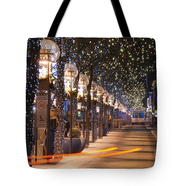 Denver's 16th Street Mall At Christmas Tote Bag