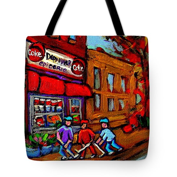Depanneur  Marche Epicerie Montreal Summer Street Hockey Painting South West City Scene Tote Bag by Carole Spandau