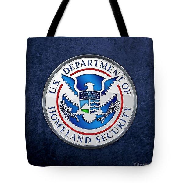 Department Of Homeland Security - D H S Emblem On Blue Velvet Tote Bag