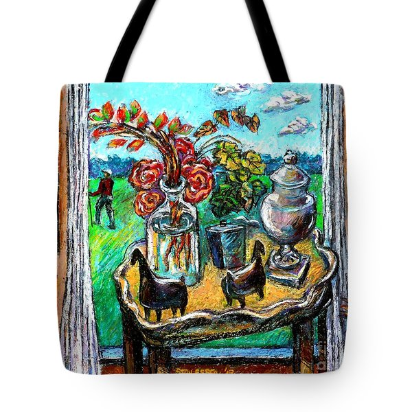Tote Bag featuring the drawing Departure by Stan Esson