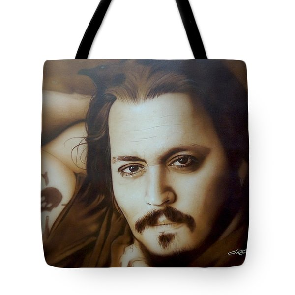 Johnny Depp - ' Depp II ' Tote Bag by Christian Chapman Art