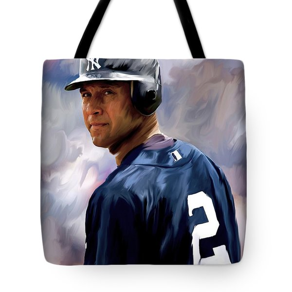 Derek Jeter  Tote Bag by Iconic Images Art Gallery David Pucciarelli