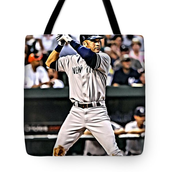 Derek Jeter Painting Tote Bag