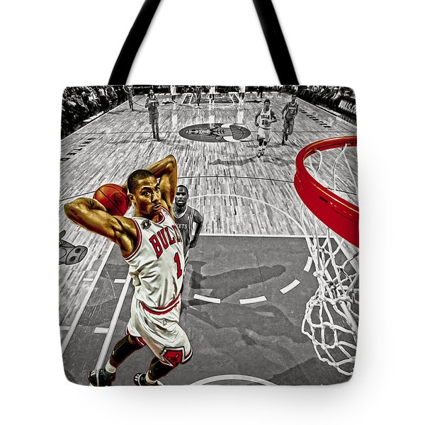 Derrick Rose Took Flight Tote Bag