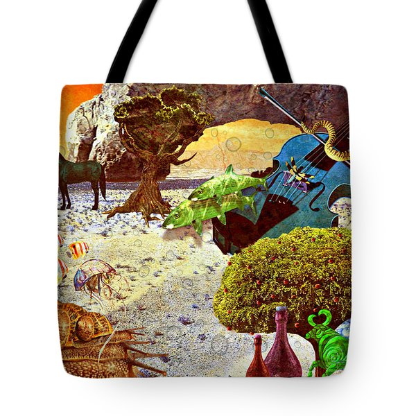 Tote Bag featuring the mixed media Desert Blues by Ally  White