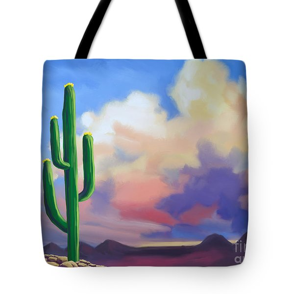 Tote Bag featuring the painting Desert Cactus At Sunset by Tim Gilliland