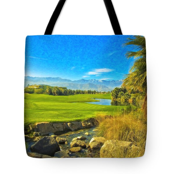 Desert Golf Resort Pastel Photograph Tote Bag