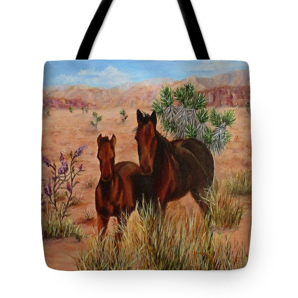 Tote Bag featuring the painting Desert Horses by Roseann Gilmore