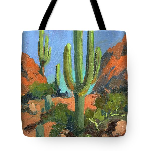 Desert Morning Saguaro Tote Bag