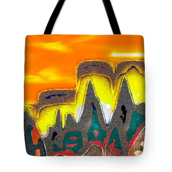 Desert Mountain Abstract Tote Bag