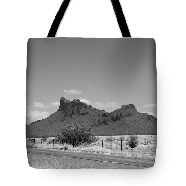 Desert Mountains Black And White Tote Bag