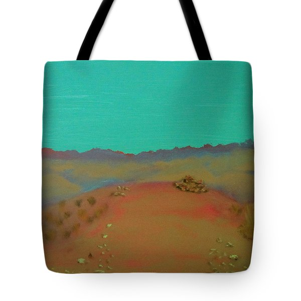 Tote Bag featuring the painting Desert Overlook by Keith Thue