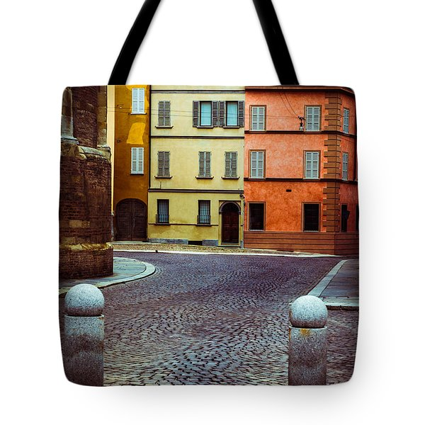 Deserted Street With Colored Houses In Parma Italy Tote Bag