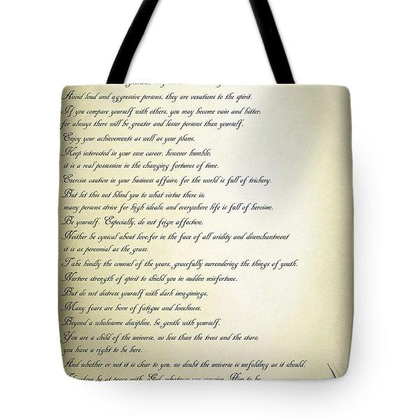 Tote Bag featuring the digital art Desiderata 2 by Teresa Zieba