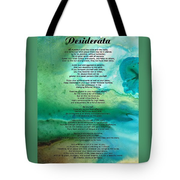 Desiderata 2 - Words Of Wisdom Tote Bag