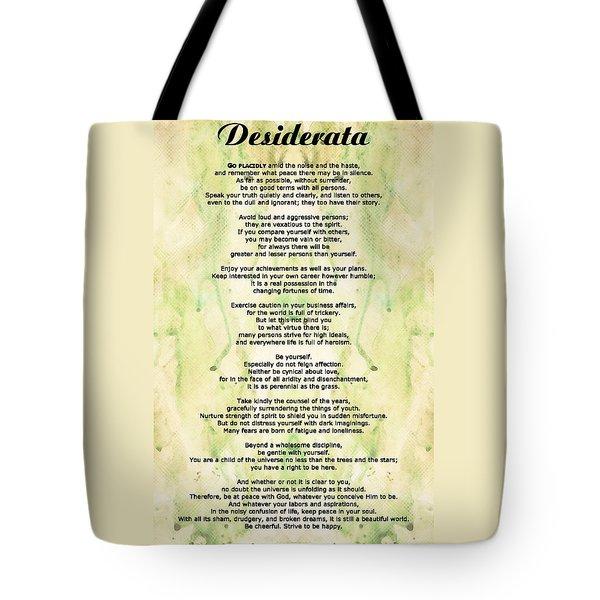 Desiderata 5 - Words Of Wisdom Tote Bag by Sharon Cummings