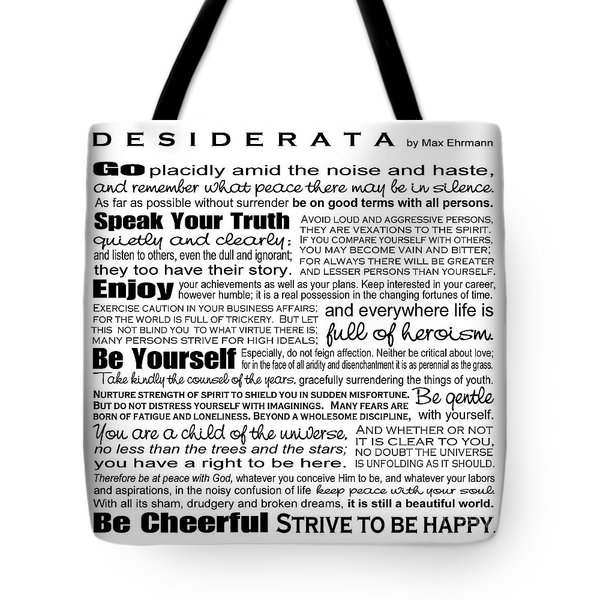 Desiderata - Black And White Square Tote Bag