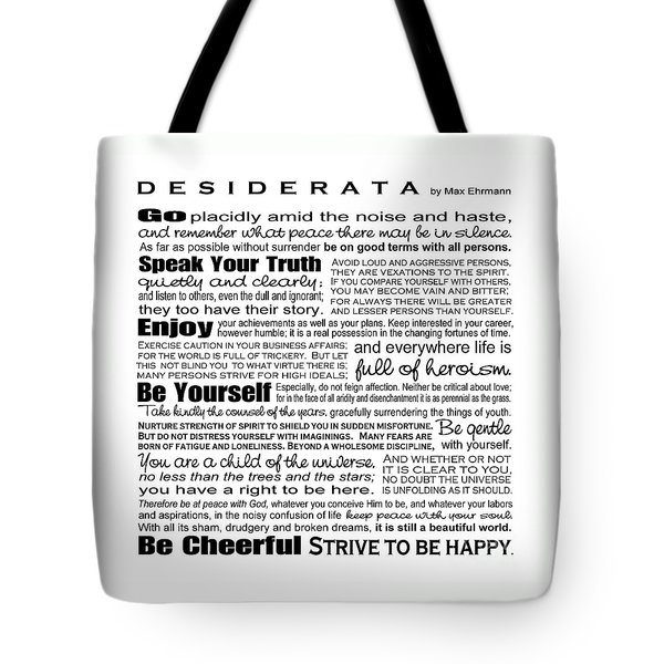 Desiderata - Black And White Square Tote Bag by Ginny Gaura