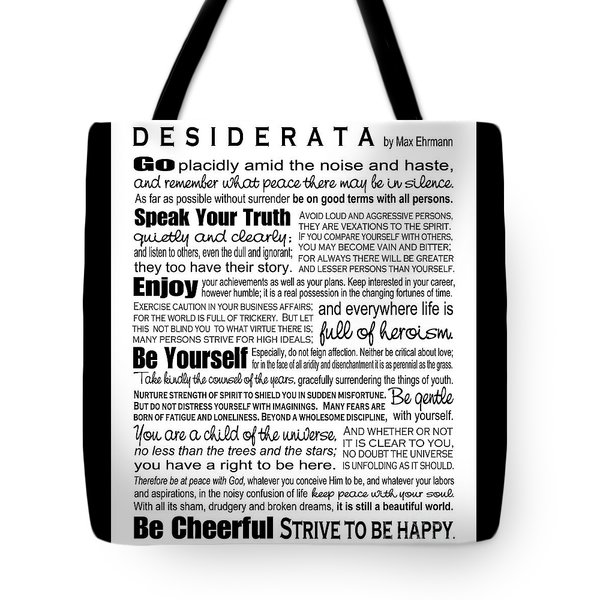 Tote Bag featuring the digital art Desiderata - Black On White by Ginny Gaura