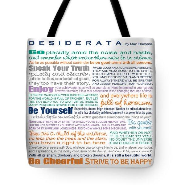 Desiderata - Multi-color - Square Format Tote Bag
