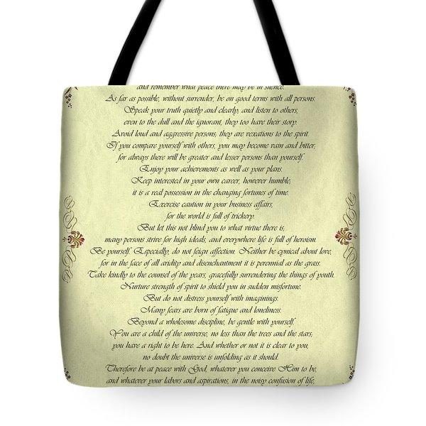 Desiderata Gold Bond Scrolled Tote Bag