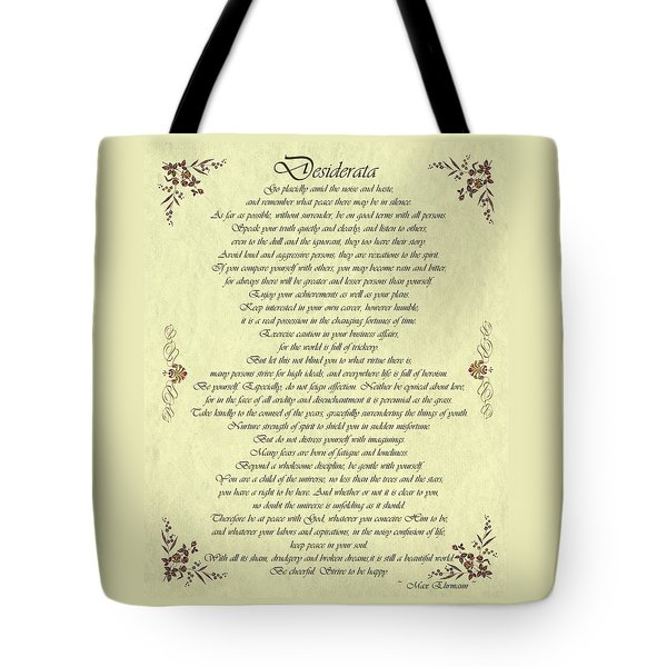 Desiderata Gold Bond Scrolled Tote Bag
