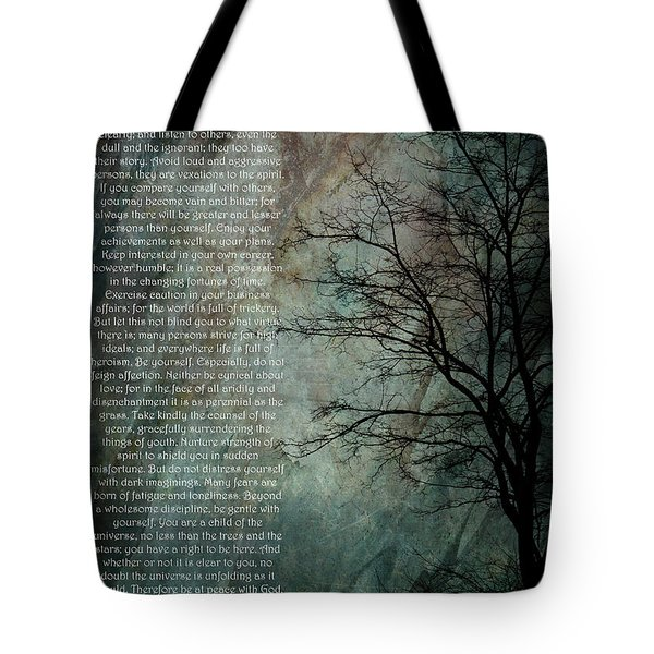 Desiderata Of Happiness - Vintage Art By Jordan Blackstone Tote Bag by Jordan Blackstone